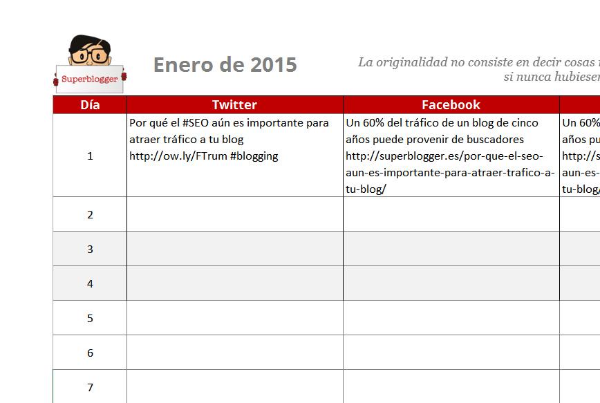 Planificador en Redes Sociales 2015