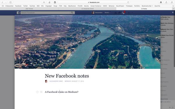 Previsualización del nuevo Facebook Notes